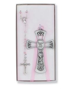 PEWTER GIRL CROSS/ROSARY SET