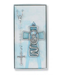 BLUE GUARDIAN ANGEL/ROSARY SET