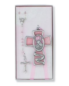 PINK GUARDIAN ANGEL/ROSARY SET