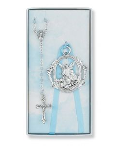 BLUE ROSARY WITH GUARDIAN ANGEL CRIB MEDAL