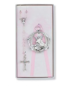 PINK ROSARY WITH GUARDIAN ANGEL CRIB MEDA