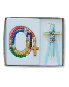 WOODEN KIDDEE ROSARY WITH BOY CRIB CROSS