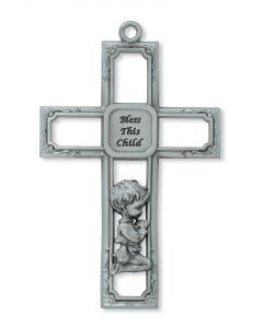 Pewter Baby Boy Cross