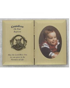 DOUBLE GRANDSON BAPTISM PHOTO PLAQUE