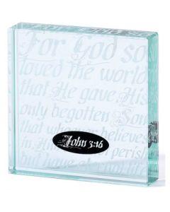 TABLE GLAS-3.75X3.75-JOHN 3:16