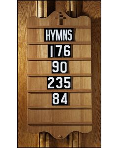 Wall Mount Church Hymnal Board Pecan Stain