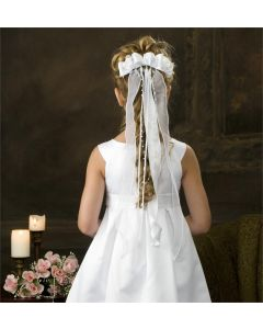 First Communion Bow Hairpiece-V855