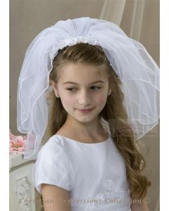 First Communion Headband Veils with Lace Flowers and Pearls