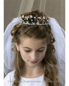 First Communion Crown Veil Metal Loops with Pearls and Crystals