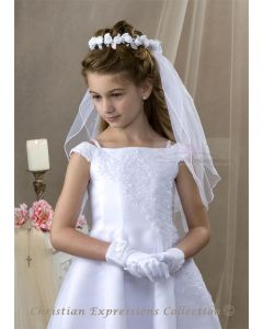 First Communion Wreath Veil with Satin Rosettes and Leaves