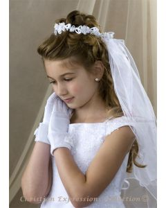 First Communion Wreath Veil Satin Flowers and Loops