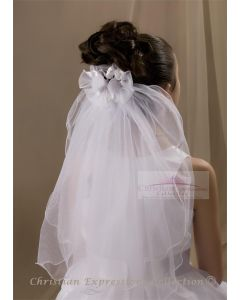 First Communion Clip Veil with Organza Rosebuds