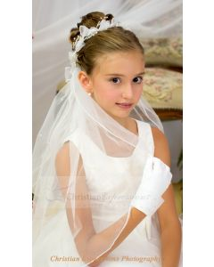 First Communion Wreath Veil with Organza Bows