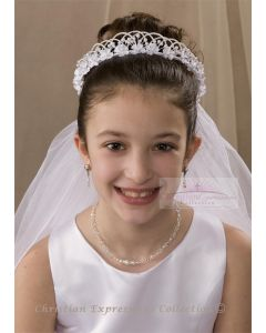 First Communion Crown Veil with Dainty Flowers