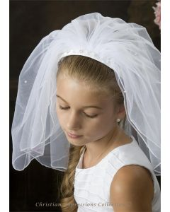 First Communion Pearl Braided Headband Veil-4360
