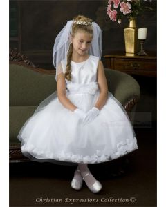 First Communion Dress with White Petals