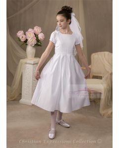 Satin First Communion Dress with Boxed Pleats