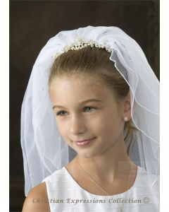 First Communion Pearl Tiara Veil with Scattered Pearls