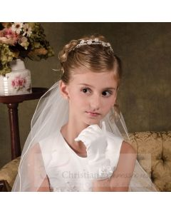 First Communion Tiara Double Band with Pearls