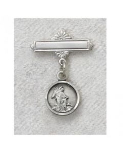 Round Guardian Angel Baby Bar Pin Sterling SIlver