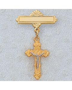 Crucifix Baptism Baby Bar Pin Two Tone