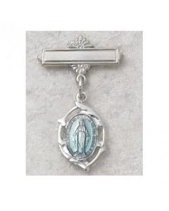 Miraculous Medal Baby Baptism Bar Pin Sterling Blue Enamel