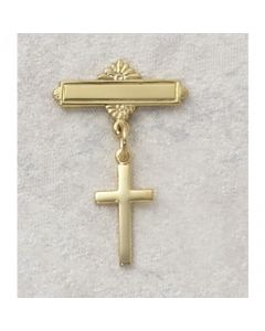 Cross Baptism Baby Bar Pin Gold Over Sterling Silver
