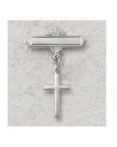 Cross Baby Baptism Bar Pin