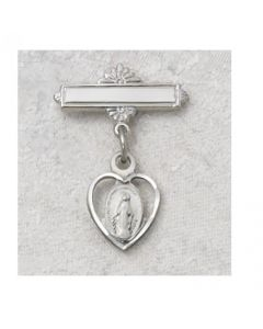 Miraculous Medal Heart Baby Baptism Bar Pin
