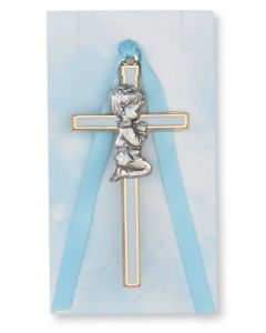 Praying Boy Cross Crib Medal