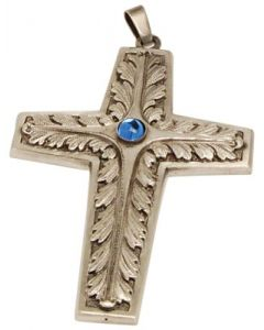 Pectoral Bishop Cross Pendant with Blue Stone