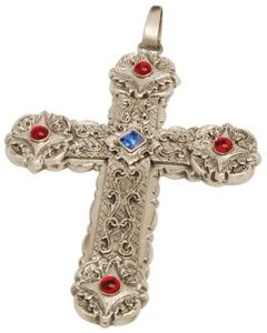 Pectoral Bishop Clergy Cross Pendant with Red Stones