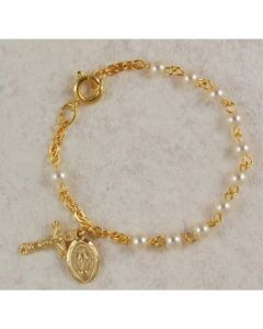 Baby Rosary Bracelet Gold Over Sterling Silver Pearl Beads