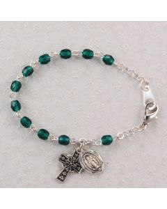 Baby Rosary Bracelet Sterling Silver with Emerald Crystal Beads