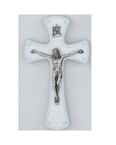 WHITE/SILVER CRUCIFIX W/ BLUE TRIM