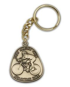 God Bless This Mountain Bike Keychain
