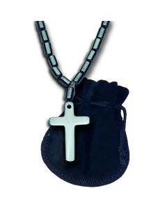 Beaded Hematite Cross Necklace