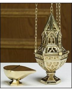 Ornate Censer and Boat Set Brass