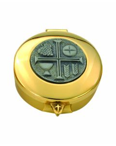 Communion Pyx Gold with Pewter Inset Chalice  12 Host Cap