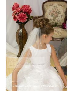 First Communion Pearl Edge Single Tier Veil