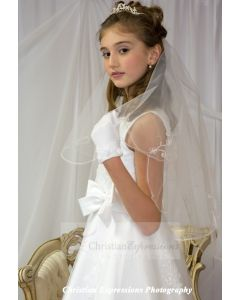 First Communion Veil with Scalloped Edge