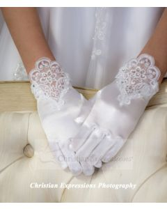 Satin Gloves Lace and Rhinestones
