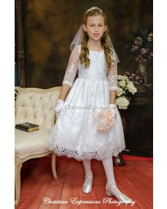 Lace Organza First Communion Dress with Three Quarter Sleeves