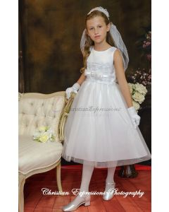 First Communion Dress with Organza and Bow