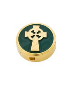 Communion Pyx with Green Enamel and Irish Celtic Cross 6 Host