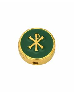 Communion Pyx with Green Enamel and Chi-Rho 6 Host Cap