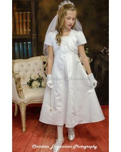 A-Line Satin First Communion Dress Split Skirt with Bolero Jacket
