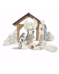 8 Piece Holy Family Nativity Set with Creche