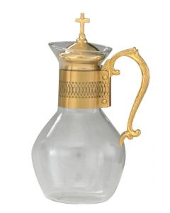 Glass Communion Wine Flagon with Gold Plated Handle 48 oz.