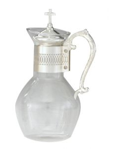 Glass Communion Wine Flagon with Silver Plated Handle 48 oz.